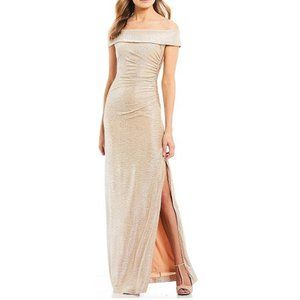 Calvin Klein Metallic Off-The-Shoulder Gown